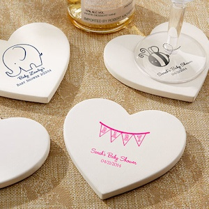Personalized Baby Shower Heart Coasters (Set of 12) imagerjs