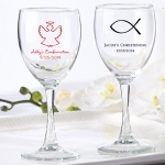 Personalized Christening Wine Glass Favors