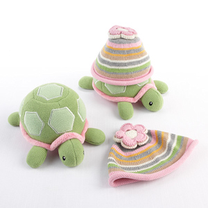 Turtle Toppers Baby Hat and Plush Gift Set (Pink and Yellow) imagerjs