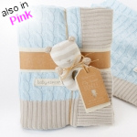 Sweet Baby Classic Cable Knit Baby Blanket