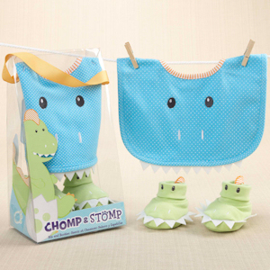 Chomp and Stomp Dinosaur Bib and Booties Gift Set imagerjs