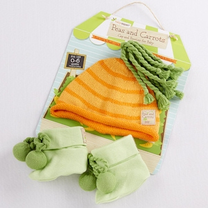 Peas and Carrots Cap and Booties Set imagerjs