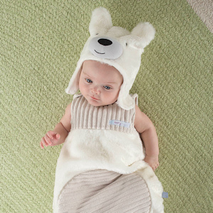 'Beary Snuggly' Luxe Polar Bear Snuggle Sack & Hat imagerjs