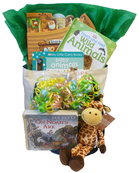 Baby Gift Baskets With Books : Noah s ark baby book gift basket aagiftsandbaskets