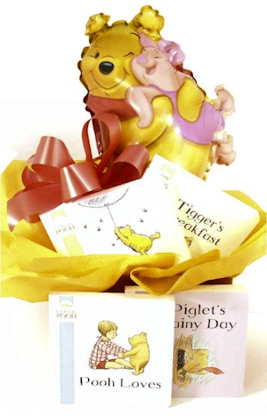 Winnie the Pooh and Baby Too Book Gift Basket imagerjs