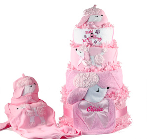 Pretty as a Poodle Diaper Cake Personalized Baby Girl Gift imagerjs