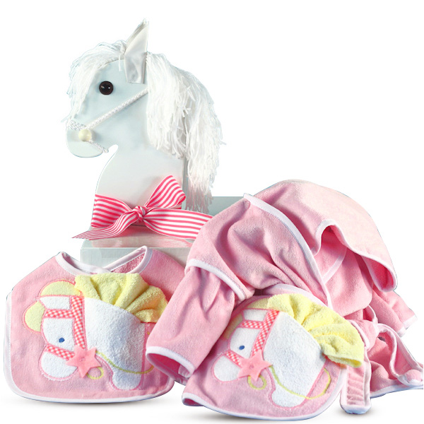 Personalized Baby Gift Baskets Rocking Horse : Personalized baby gift in rocking horse box