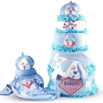 Happy as a Puppy Diaper Cake Baby Boy Gift