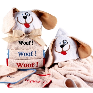 Woof Woof Puppy Dog Hooded Towel Gift Set imagerjs
