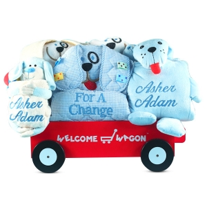 Deluxe Puppy Welcome Wagon Personalized Baby Boy Gift imagerjs