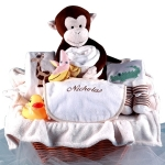 Monkey and Pals Personalized Baby Gift Basket