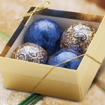 Blue & Gold Chocolate Ornament Gift Box (Case of 6)