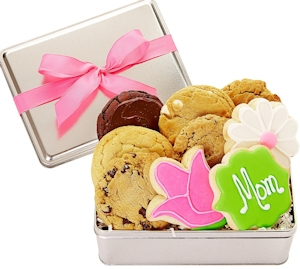 Mom & Flowers Mother's Day Cookie Gift Tin imagerjs