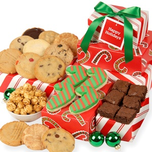 Peppermint Trio Holiday Gift Tower of Baked Goods imagerjs