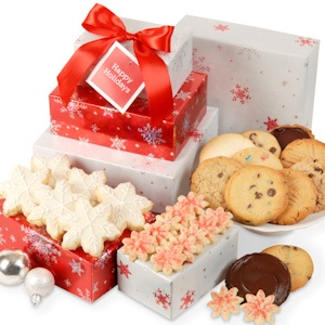 Shimmering Snowflake Holiday Cookie Tower of Boxes imagerjs