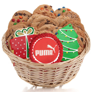 Corporate Christmas Gourmet Logo Cookie Gift Basket imagerjs