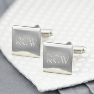 Engraved Silver Square Cufflinks with Initials imagerjs
