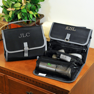 Personalized Black Micro Fiber Toiletry Bag for Men imagerjs