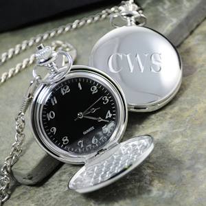 Black Face Silver-Plated Pocket Watch imagerjs