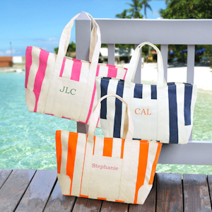 Personalized Striped Canvas Tote Bags (3 Colors) imagerjs
