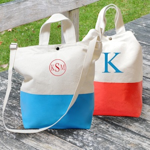 Color Dipped Canvas Totes imagerjs