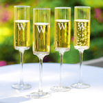 Personalized Contemporary Champagne Flutes (Set of 4)