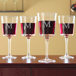 Engraved Contemporary Wine Glasses (Set of 4)