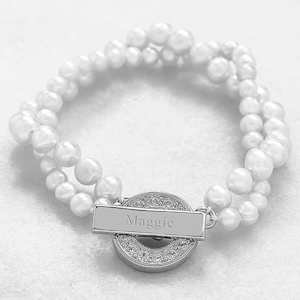 Personalized Pearl Bracelet with Rhinestone Toggle imagerjs
