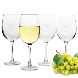 Circle Initial White Wine Glasses (Set of 4) imagerjs