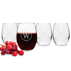 Circle Initial Stemless Wine Glasses (Set of 4) imagerjs