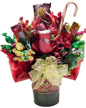 Holiday Poinsettia Candy Bouquet image