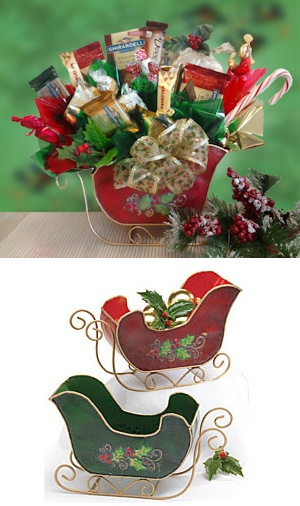 Holly Sleigh Candy Bouquet - Red or Green imagerjs