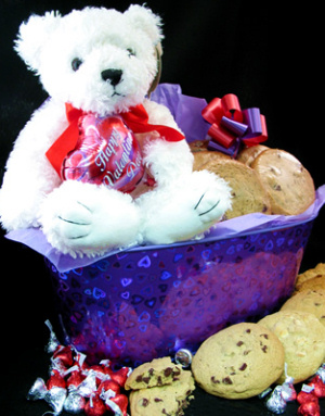 Valentine Heart Tin with Bear and Gourmet Cookies image