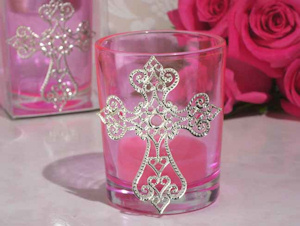 Blessed Events Pink Cross Candle Holder imagerjs