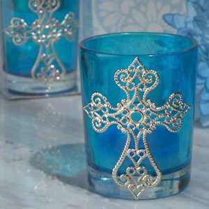 Blessed Events Blue Cross Candle Holder imagerjs