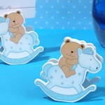 Adorable Blue Teddy Bear On Horse Place Card Holder