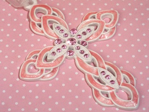 Pearlized Pink Ornate Cross Favors imagerjs