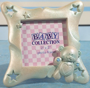 Blue Square Frame with Sparkling Teddy Bear Accent imagerjs