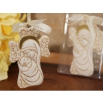 Dazzling Madonna and Baby Cross Ornament with Ivory Ribbon