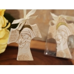 Elegant Madonna and Baby Cross Ornament with Ivory Ribbon