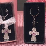 White Cross Keychain with Pink Crystals