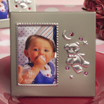 Pink Crystal Teddy Bear Photo Frame Favors