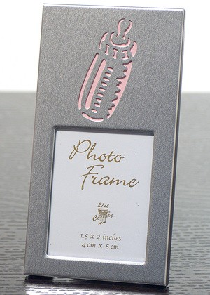 Silver Photo Frame w/ Pink Baby Bottle image