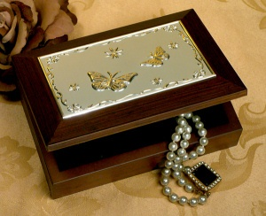 Wooden Jewelry Box with Embossed Butterfly Design imagerjs