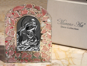 Art Deco Pink Pebble Religious Icon Glass Arch Favor imagerjs