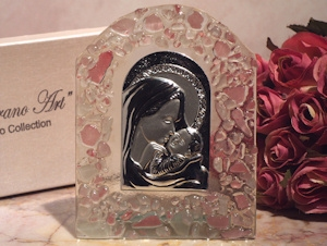 Art Deco Religious Icon Pink Pebble Glass Arch Favors imagerjs