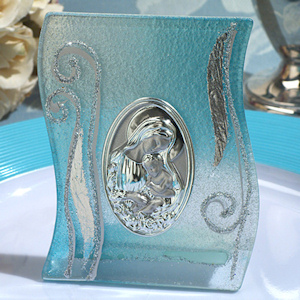 Blue and Silver Wave Glass Religious Icon Favor imagerjs