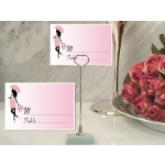 Pretty Pink Baby Shower Place Card with Metal Place Card Hol