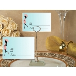 Pink and Blue Baby Shower Place Card with Metal Holder