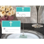 Teal Blue Cross Place Card with Metal Holder
